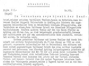 Abschrift Urkunde Kauf Reisenthal 1784